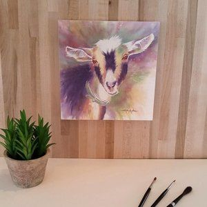 Goat Watercolor Print-Mounted on wood panel